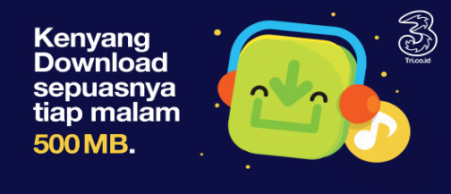 Paket Kenyang Download 500MB Tri 3